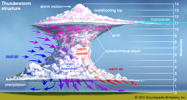 The dynamics of a thunderstorm from the overshooting top, to the interaction between warm and cold air within the storm. Hail becomes caught in the warm updraft and becomes suspended in the mid to upper level layers of the storm
