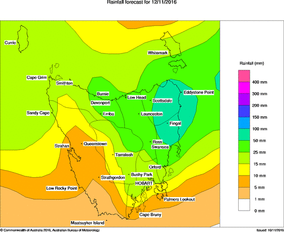 24hr rainfall forecast totals for Saturday