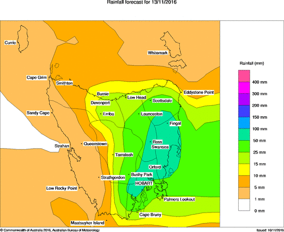 24hr rainfall forecast totals for Sunday