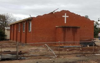 Significant damage to the Blyth Church. Image Credit: Michelle Morris