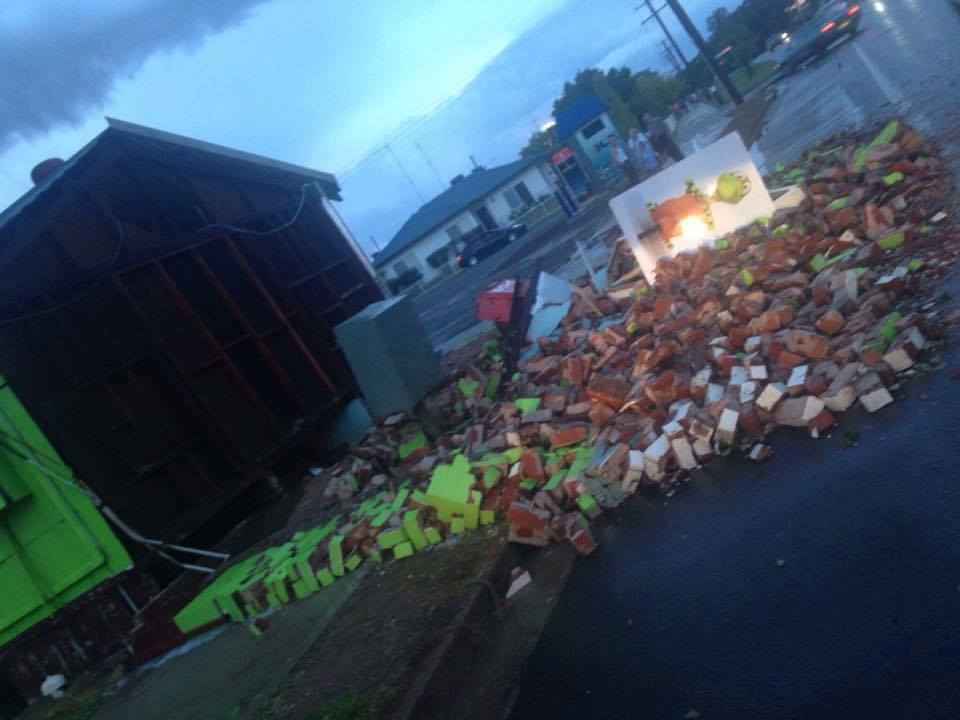 Entire wall crumbled at Gecko's in Parkes via Roxanne Gallacher