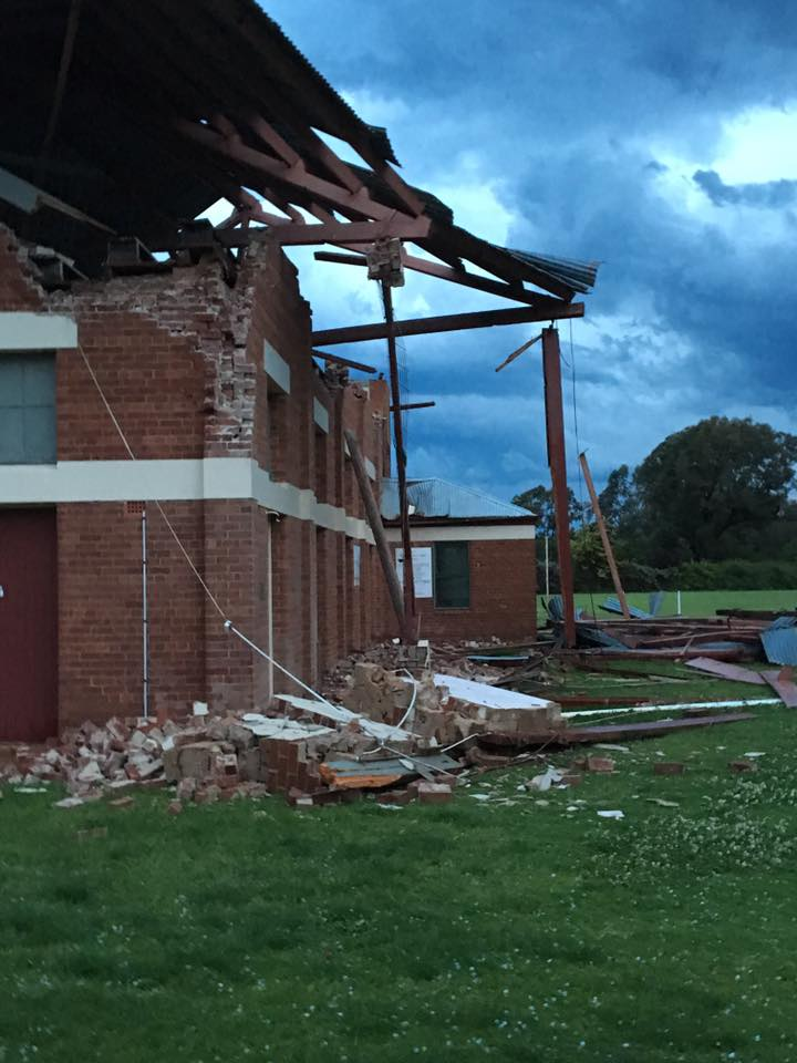 Close up damage to the racetrack grandstand in Parkes via Rodney Ross