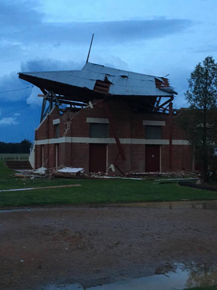 Tornado damage to the Parkes racetrack grandstand via Mike Phillips