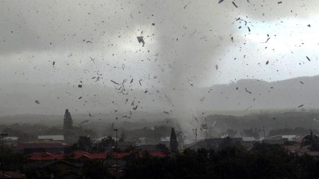 View of the Lennox Head Tornado / Waterspout as it destroys dozens of homes during the morning. Image Credit: Ross Tuckerman