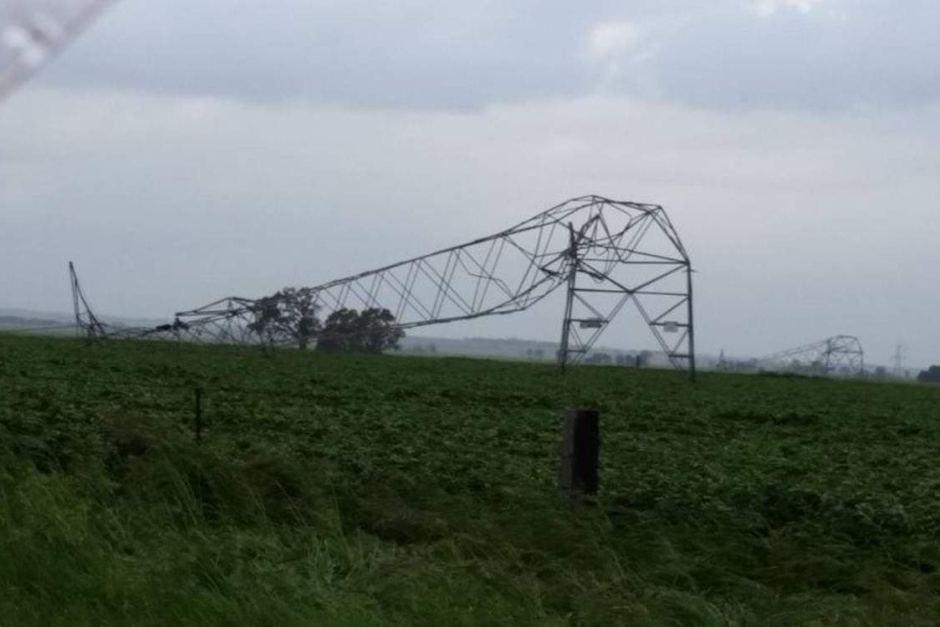 Transmission tower downed in Melrose via James Lang