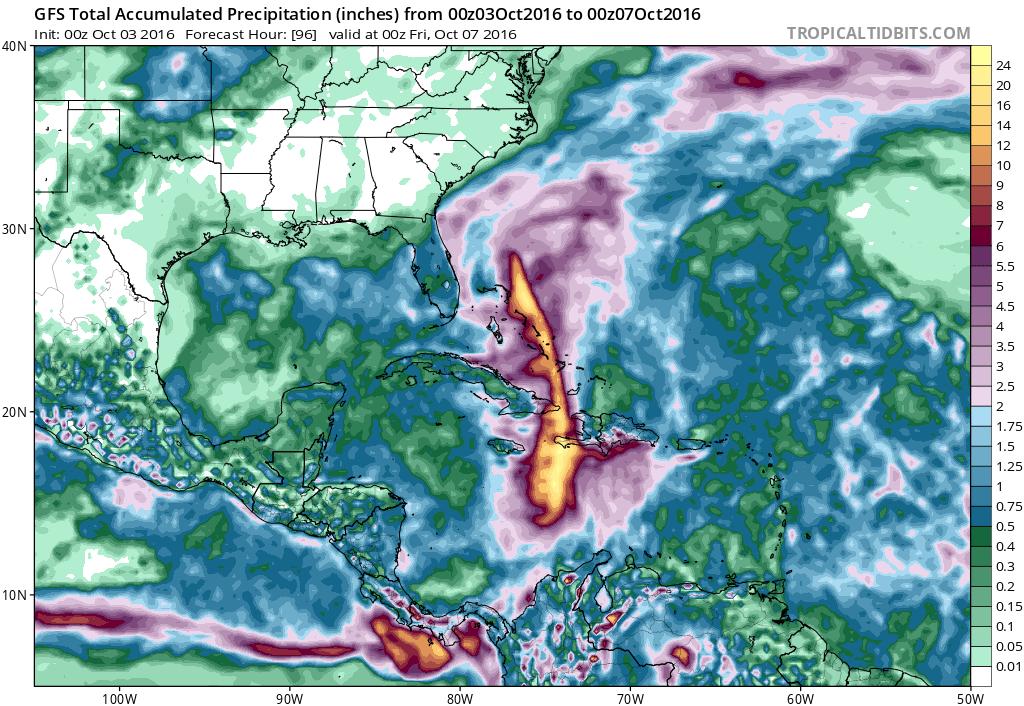 Forecast rainfall via Tropicaltidbits (yellow = 16-24 inches)