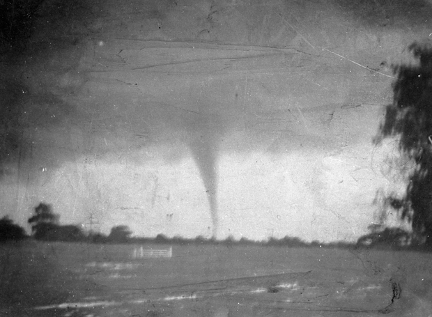 First captured tornado at Marong, VIC 1911. Image released by the Victoria Museum