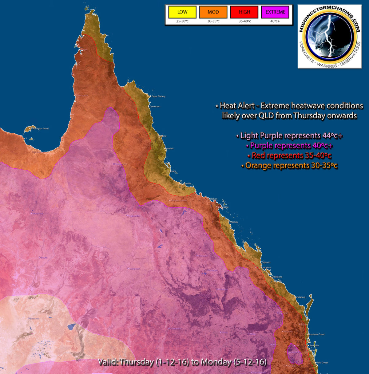 HSC heatwave threat map from Thursday to Monday
