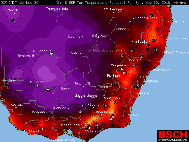 Forecast maximums for NSW and VIC via BSCH