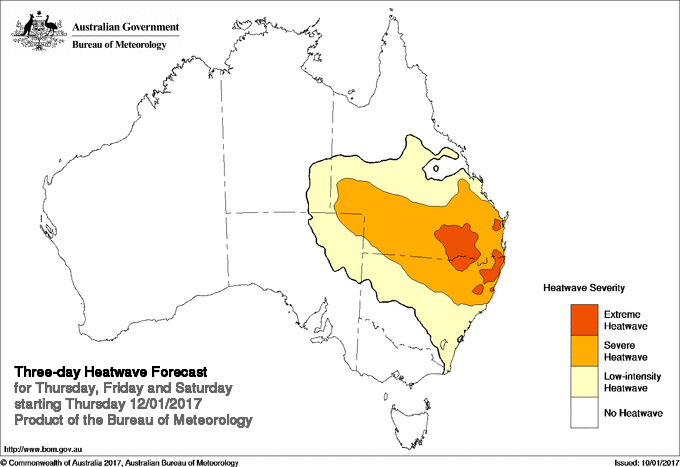 BOM Heatwave Pilot showing Extreme Heatwave conditions for Thursday, Friday, Saturday