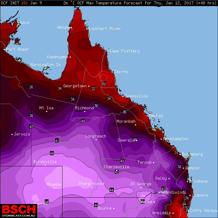 Forecast maximums via OCF for QLD on Thursday (January 12th)