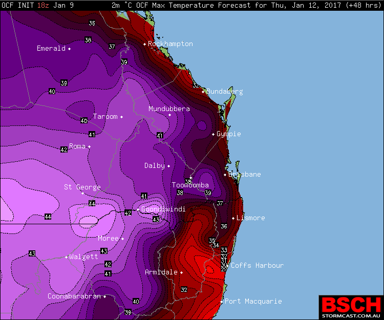Forecast maximums via OCF for SEQ/NENSW on Thursday (January 12th)