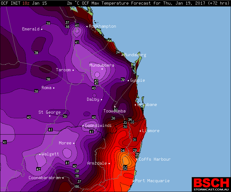 Forecast Maximums for Thursday January 19th via BSCH/OCF