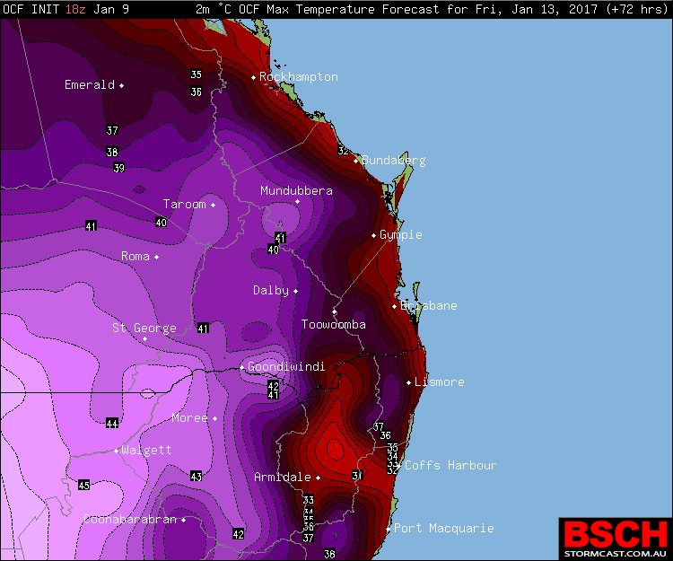 Forecast maximums via OCF for SEQ/NENSW on Friday (January 13th)