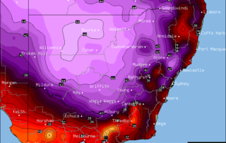 Forecast maximums via OCF for NSW on Friday (January 13th)
