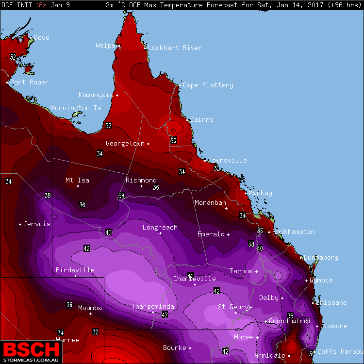 Forecast maximums via OCF for QLD on Saturday (January 14th)