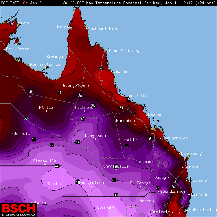 Forecast maximums via OCF for QLD on Wednesday (January 11th)