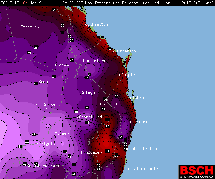 Forecast maximums via OCF for SEQ/NENSW on Wednesday (January 11th)