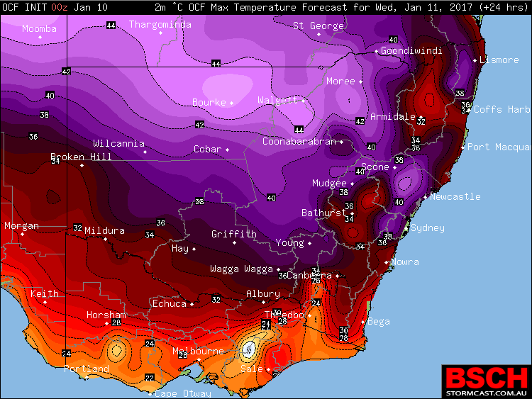Forecast maximums via OCF for NSW on Wednesday (January 11th)