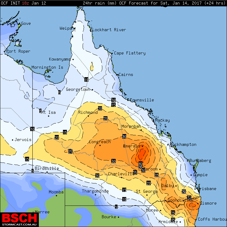 OCF Forecast Rainfall for QLD on Saturday (January 14th)