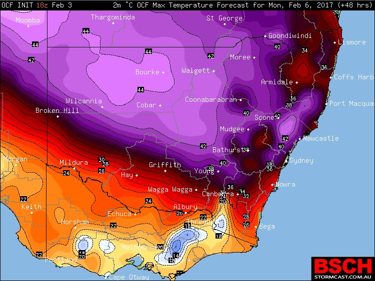 OCF Forecast Maximums via BSCH for Monday, February 6th
