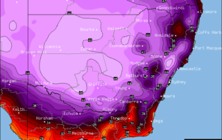 Forecast Maximums via OCF/BSCH for NSW/VIC on Saturday, February 11th