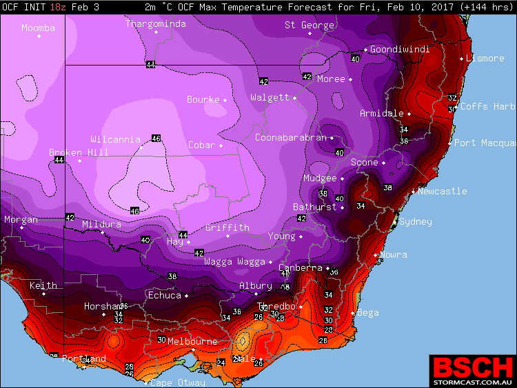 OCF Forecast Maximums via BSCH for Friday, February 10th