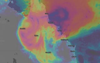 Forecast 10 day rainfall via ECMWF (WindyTV) - purple (500mm+), pink (250mm+)