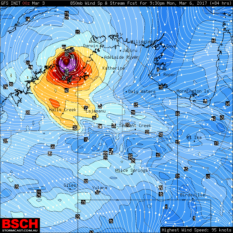Forecast position via GFS (BSCH) of the system on Monday night