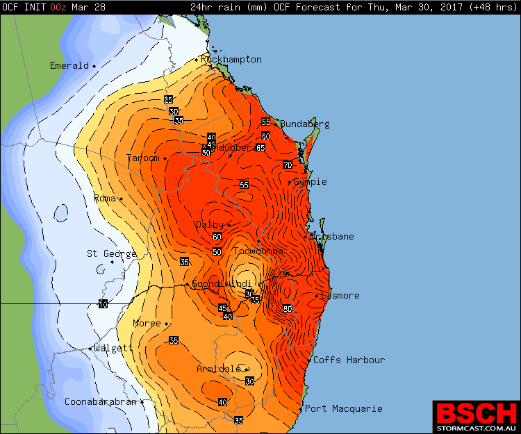 OCF Forecast Rainfall via BSCH for Thursday (totals are conservative and can be doubled)