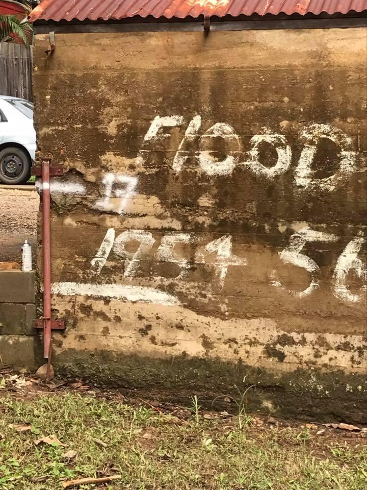 The 1954 flood line broken in Murwillumbah