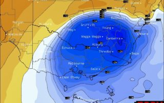 Cold pool over VIC/NSW on Sunday- temperatures at 17,000ft via BSCH/GFS