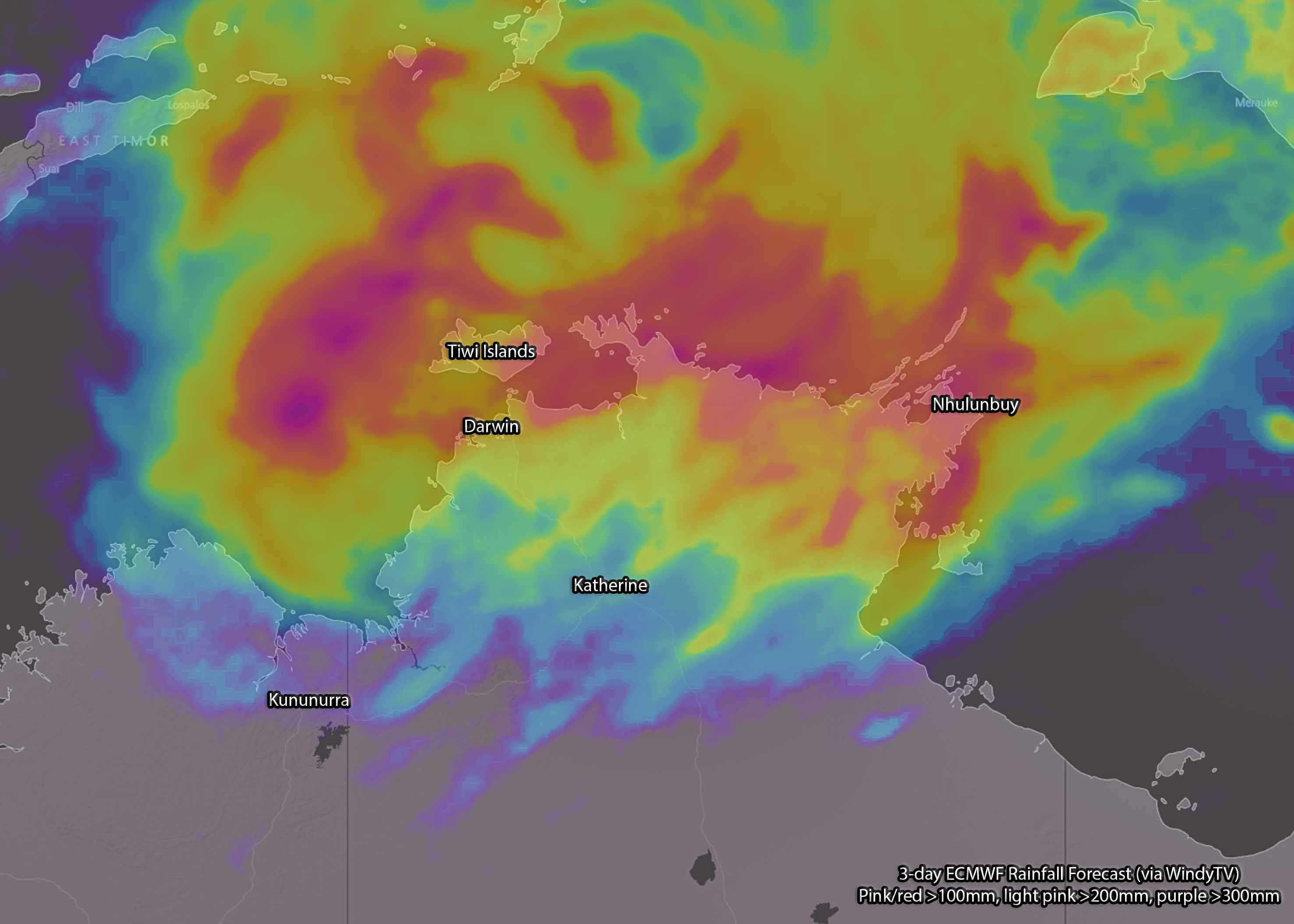 Forecast 3-day rainfall via ECMWF (WindyTV) - red/pink >100mm, light pink >200mm, purple >300mm