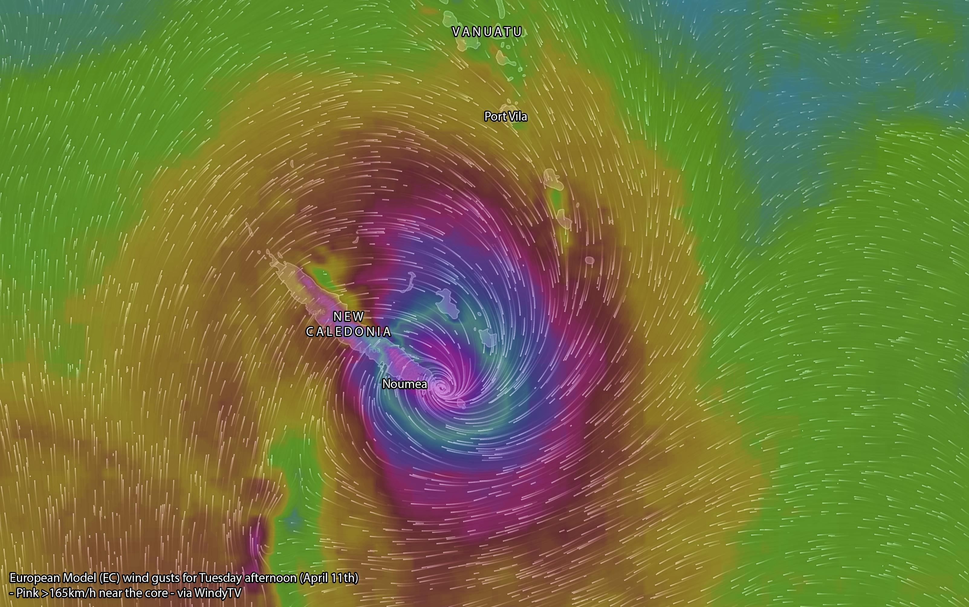 Forecast wind gusts via EC Model (WindyTV) - pink near the eye indicates winds to over 165km/h (Category 3)