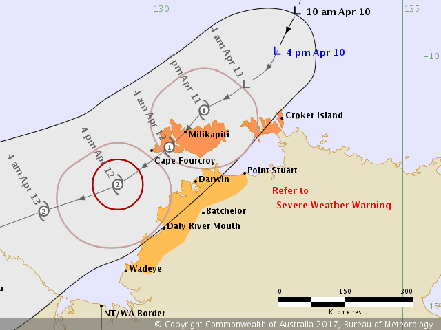 BOM Forecast Track for Tropical Low / Cyclone Frances issued 5:15pm ACST Monday, April 10th