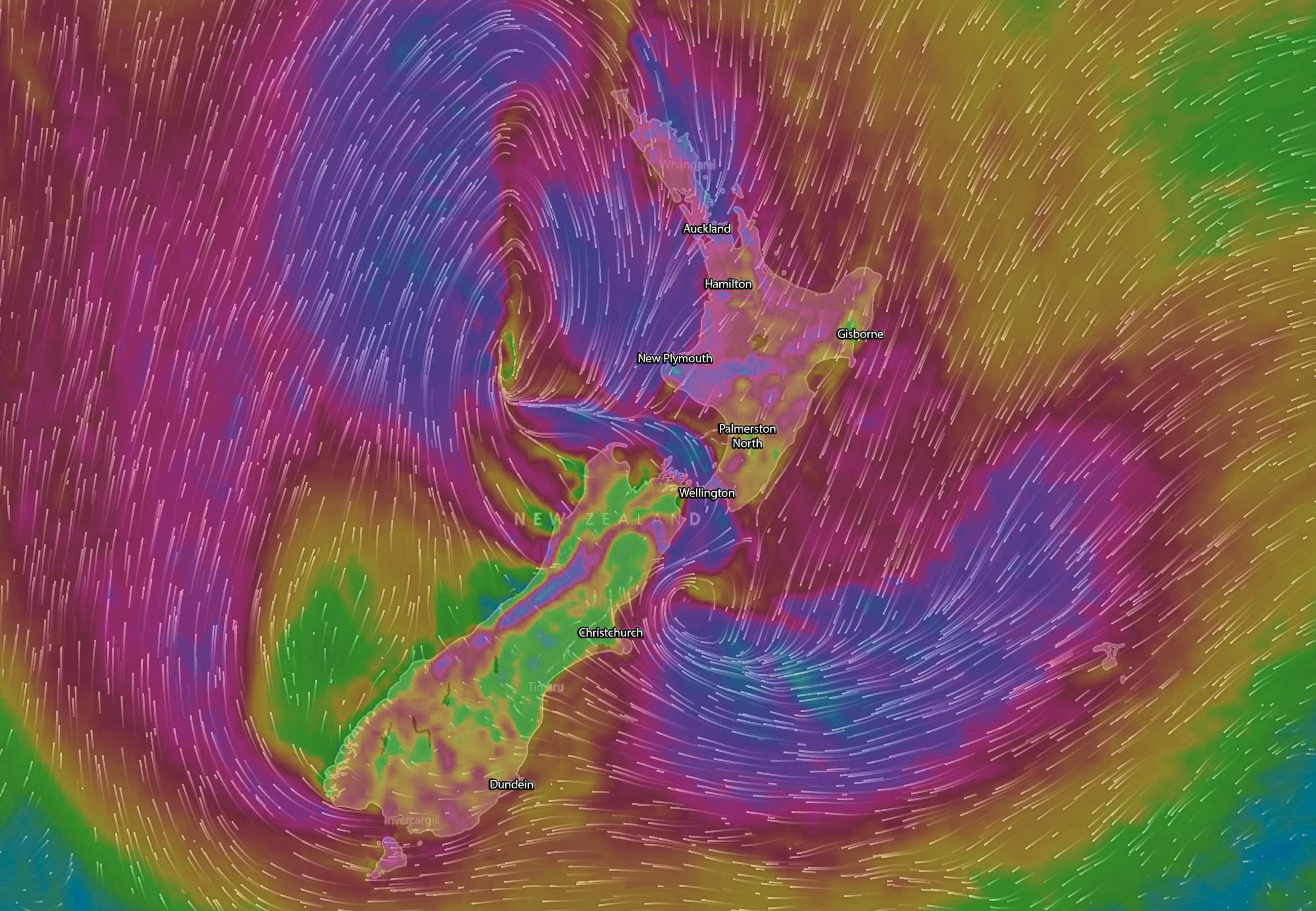 Forecast wind gusts (purple >80km/h) Wednesday afternoon via WindyTV