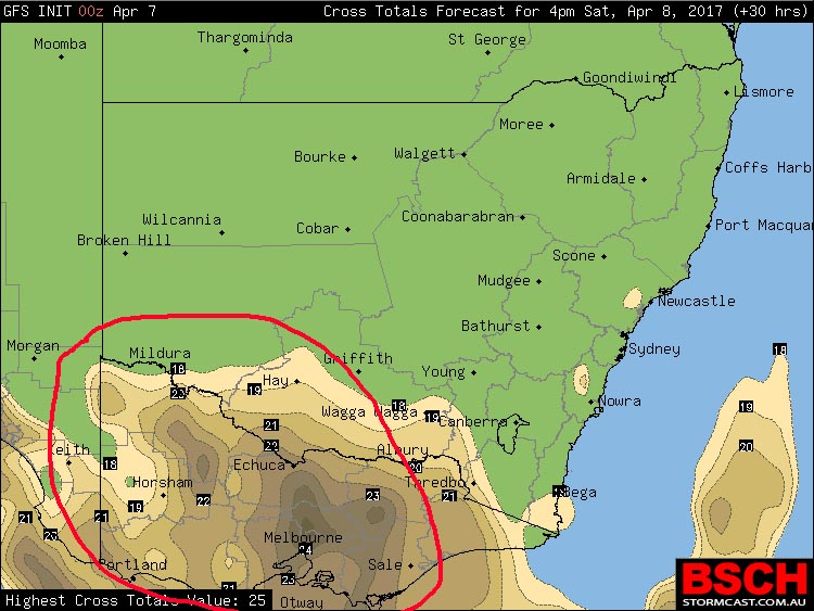 Red circle showing where thunderstorms are most likely in VIC during Saturday - image total totals via BSCH/GFS