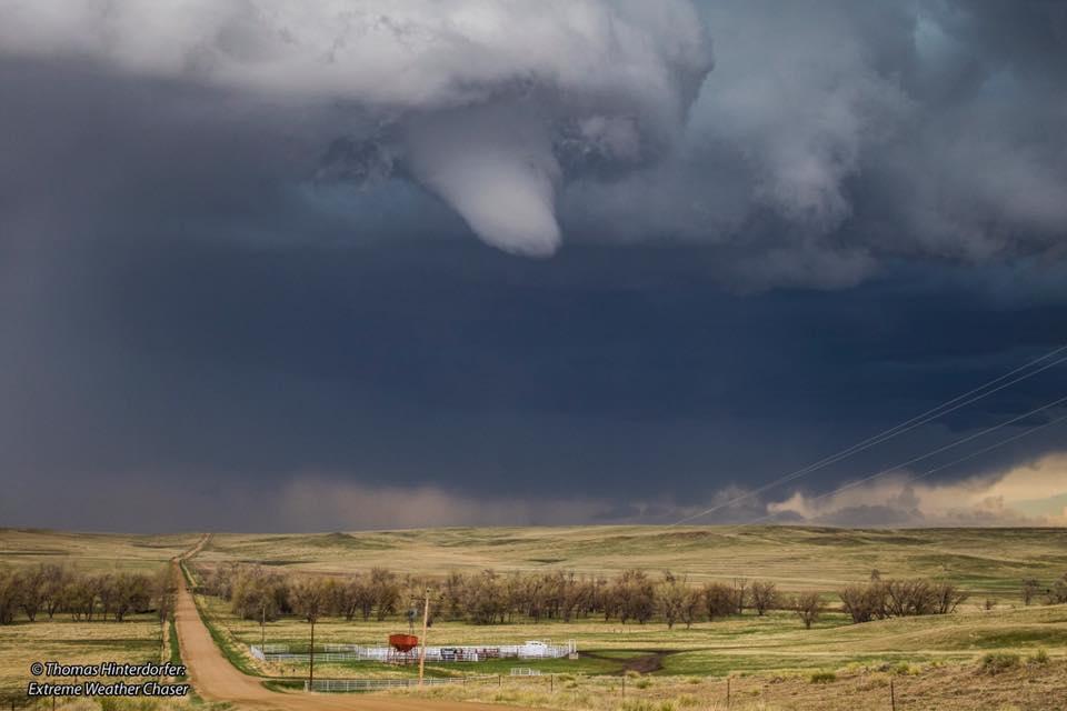 White cone funnel (brief Tornado) North of Simla, Colorado (May 8th)