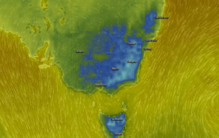 Forecast temperatures for Saturday Morning via EC / WindyTV - Blue colouring is below 0ºc, aqua is below -5ºc