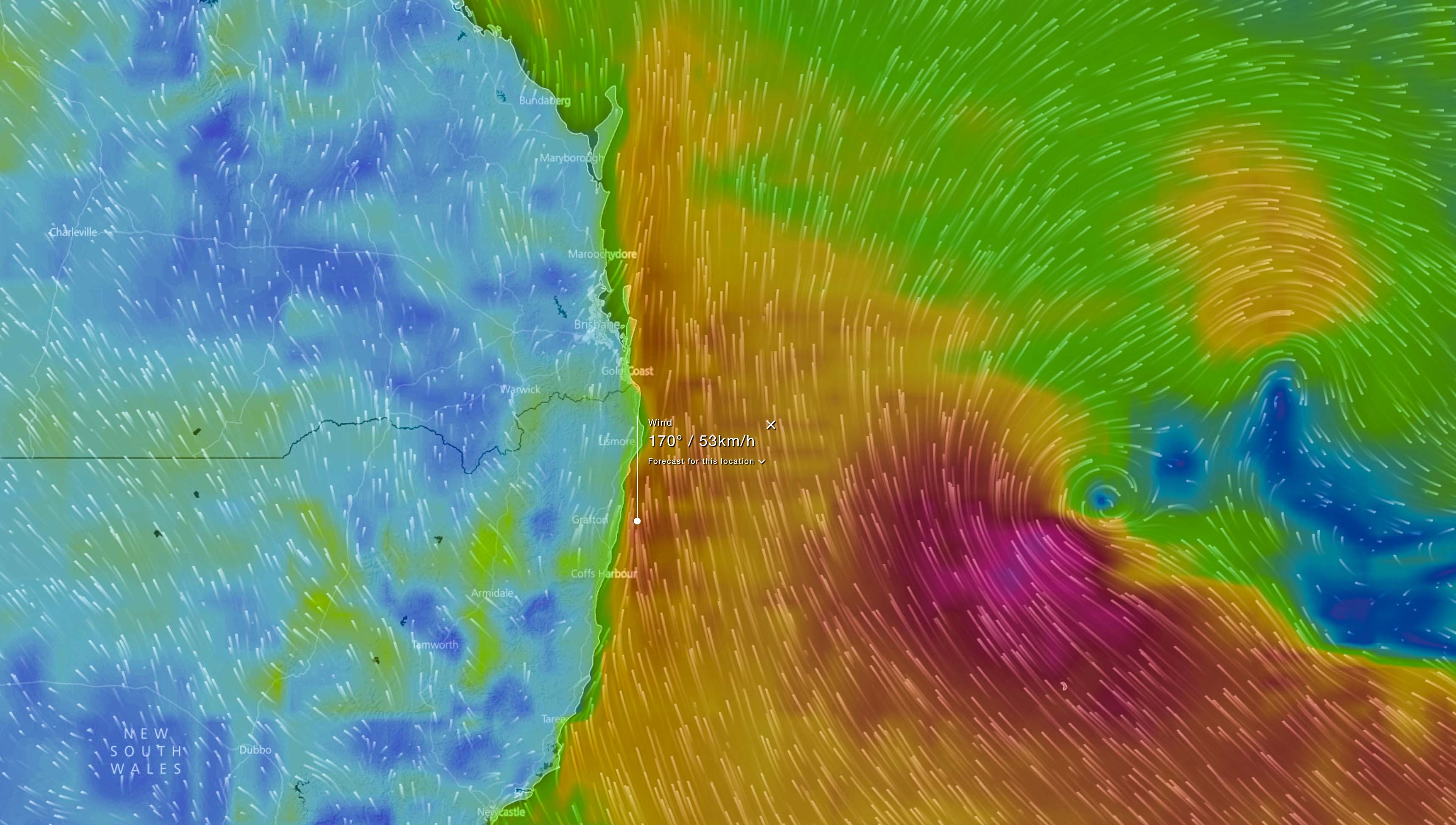 Forecast winds via EC Model / WindyTV during Monday morning (red >50km/h, purple >90km/h)