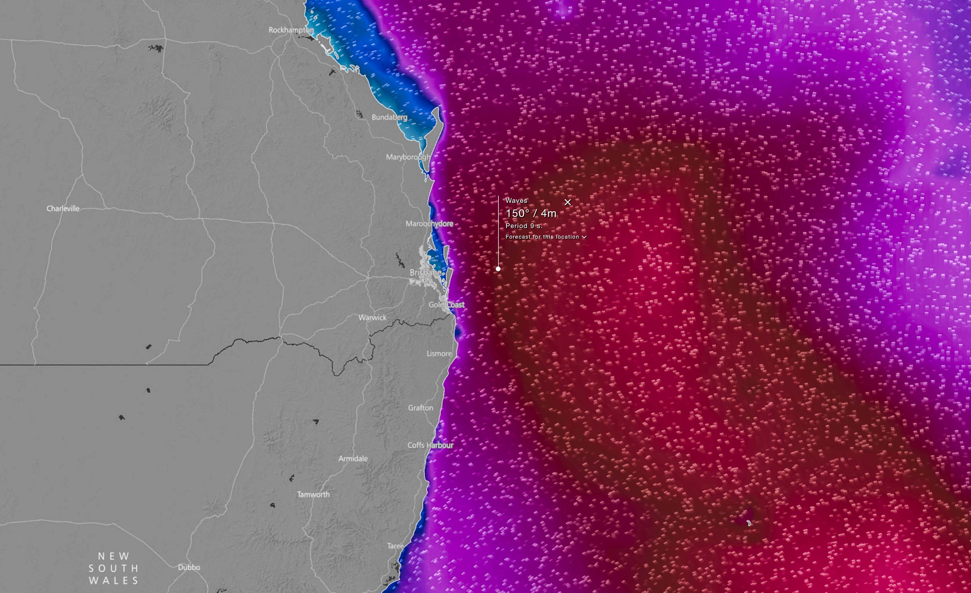 Forecast wave heights via EC Model / WindyTV on Tuesday (June 20th) - maroon 4m height, lighter red >5m