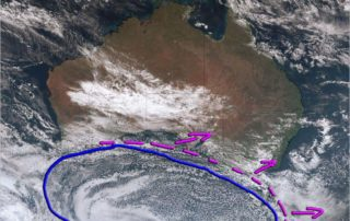 Visible satellite via BSCH showing the cold front and cold snow air over Southern AUS