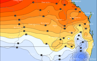Forecast maximum temperatures via BSCH / OCF for Southern QLD on Saturday, July 1st 2017