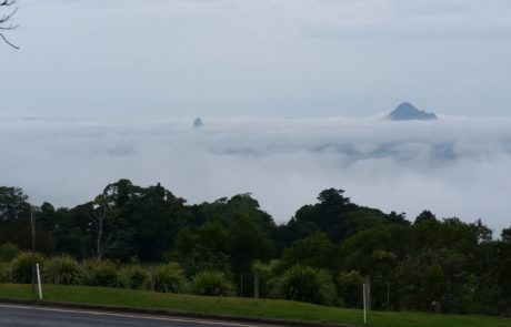 Mary Cairncross on the Sunshine Coast Hinterland looking towards the cloud covered Glasshouse Mountains via Raz Za