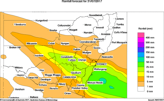 Forecast rainfall via BOM for Monday
