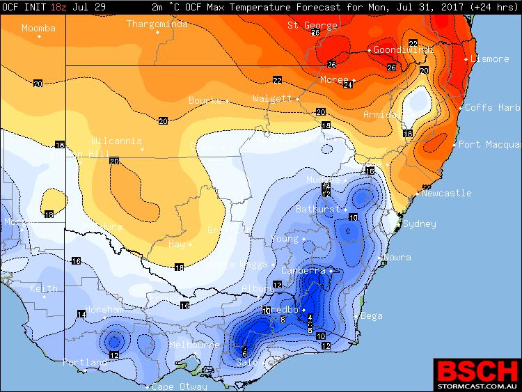 Forecast Maximum Temperatures via BSCH / OCF for Monday