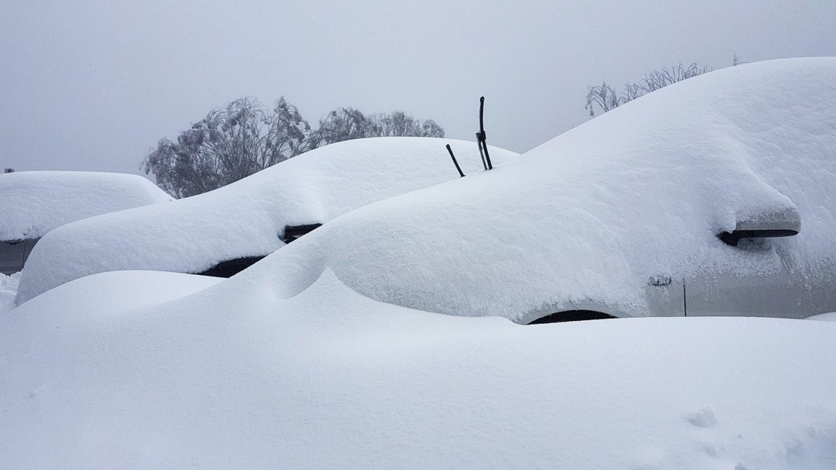 Cars buried in Snow at Falls Creek over the weekend-  Image via Falls Creek
