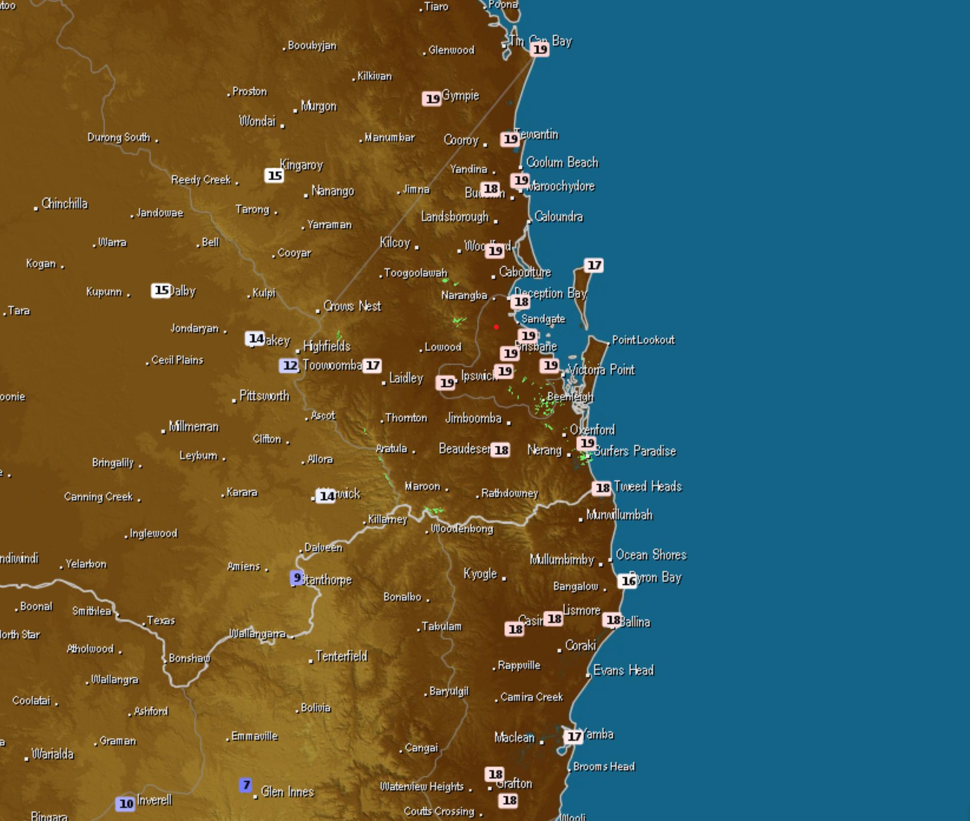 Temperatures during Saturday via Weatherzone