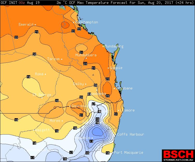 Forecast Maximums for Sunday via OCF / BSCH