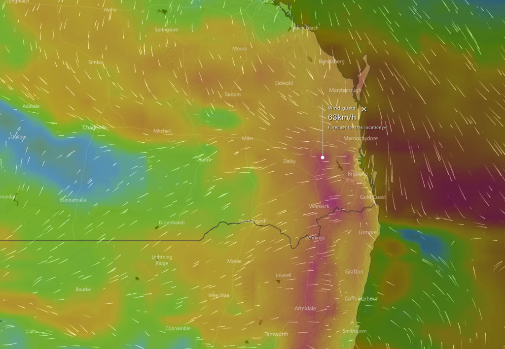 Forecast wind gusts for Thursday via WindyTV